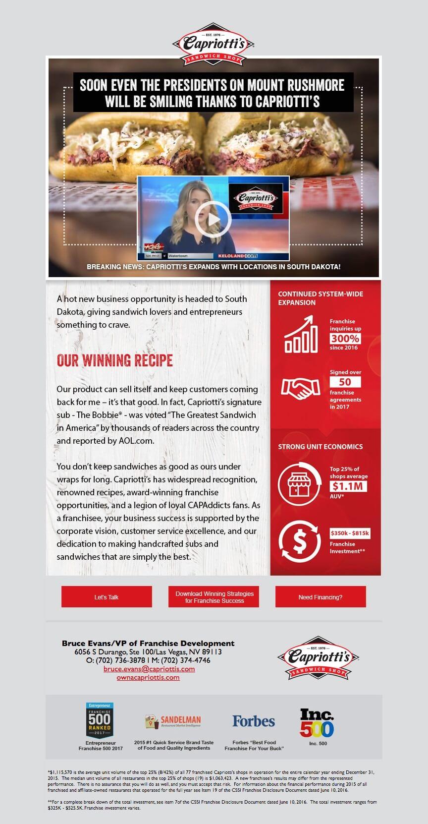 Capriottis Email Campaign